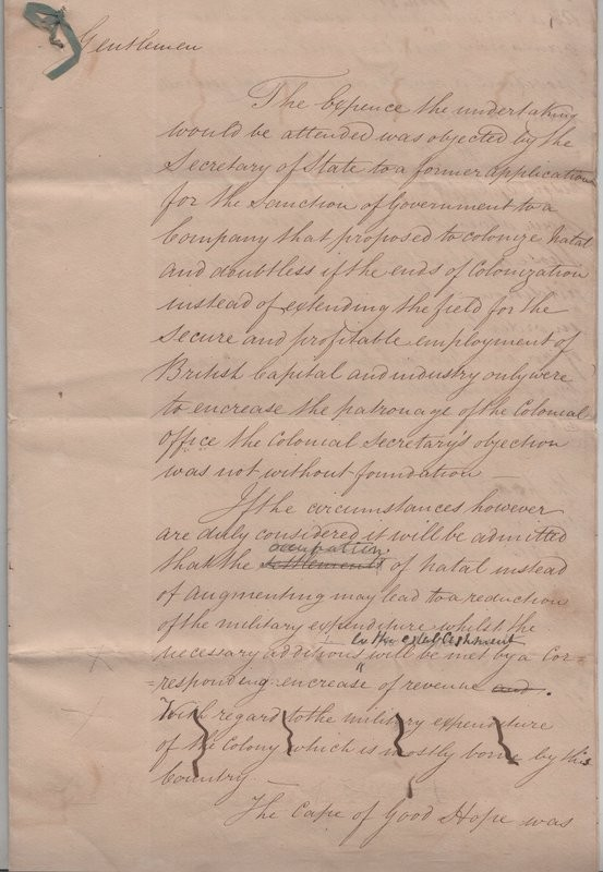 ALS.  DOCUMENT DISCUSSING PROSPECTS FOR A PROPOSED 'COLONY OF NATAL'.