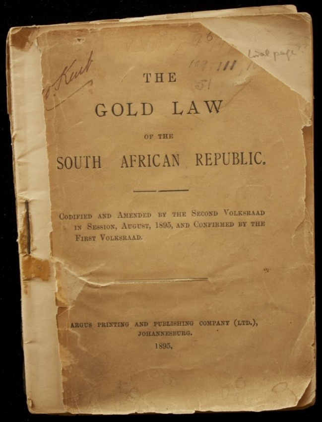 The Gold Law of the South African Republic (1895)