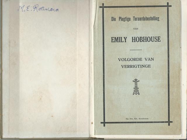 TOT NAGEDAGTENIS VAN EMILY HOBHOUSE: