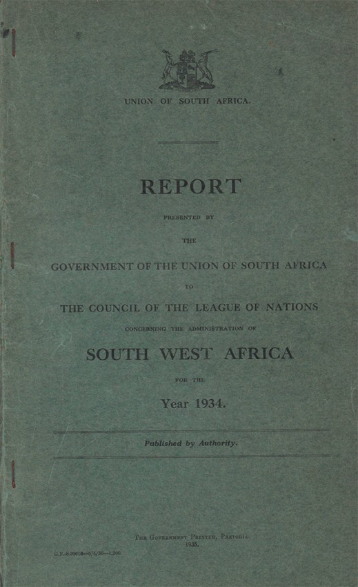 REPORT PRESENTED BY THE GOVERMENT OF THE UNION OF SOUTH AFRICA TO THE COUNCIL OF THE LEAGUE OF NATIONS