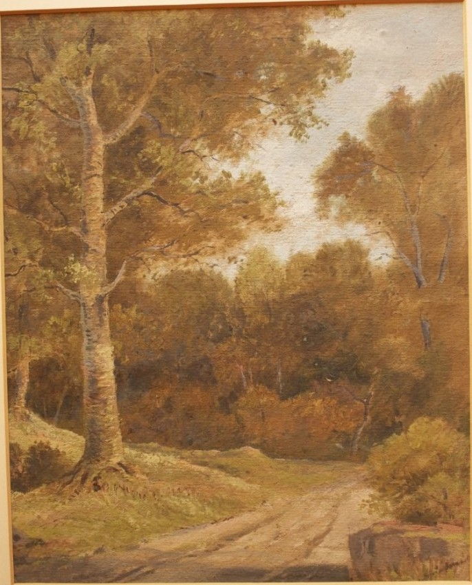 "Oil on Paper Landscape Painting titled ""In Knysna Forest"" by 19th Century Cape Artist Abraham de Smidt (circa 1865)"