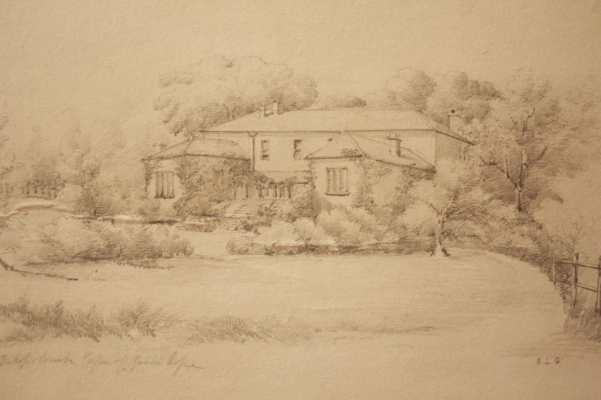 """A very old pencil drawing of Bishop's Court Cape of Good Hope by """"S.L.G."""""""