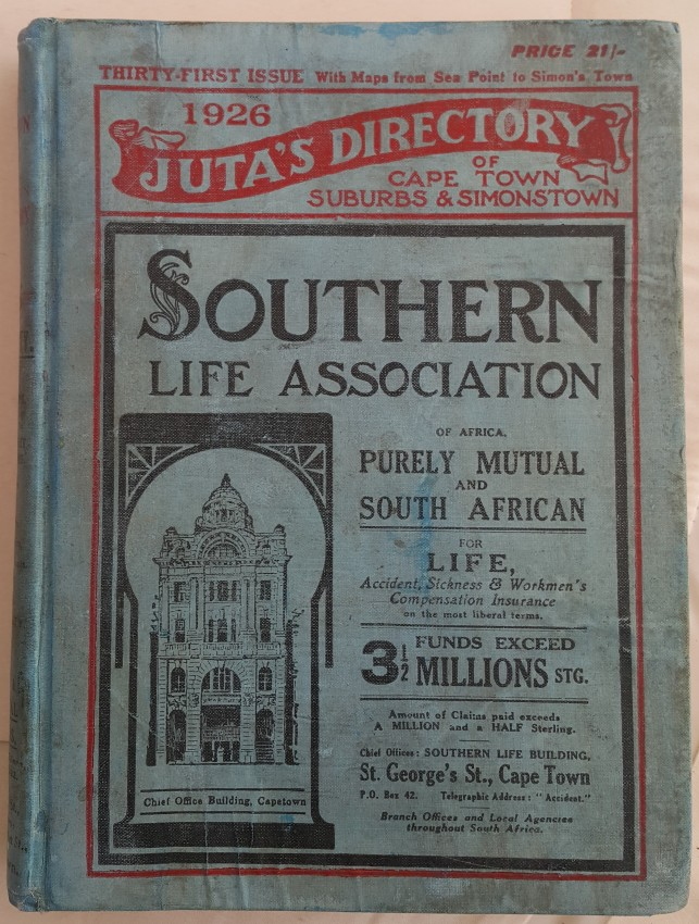 Juta's Directory of Cape Town Suburbs and Simon's Town 1926