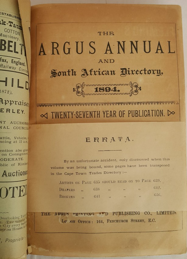 The Argus Annual and South African Directory 1894.