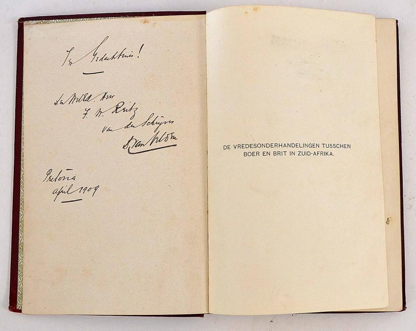 DE VREDESONDERHANDELINGEN TUSSCHEN BOER EN BRIT IN ZUID-AFRIKA - FINE ASSOCIATION COPY INSCRIBED TO F.W.REITZ