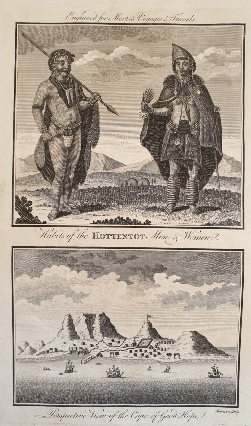 PERSPECTIVE VIEW OF THE CAPE OF GOOD HOPE HABITS OF THE HOTTENTOT MEN AND WOMEN