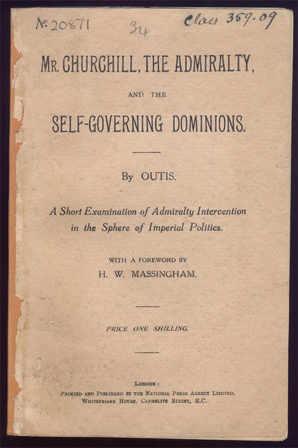 MR. CHURCHILL, THE ADMIRALTY, AND THE SELF GOVERNING DOMINIONS