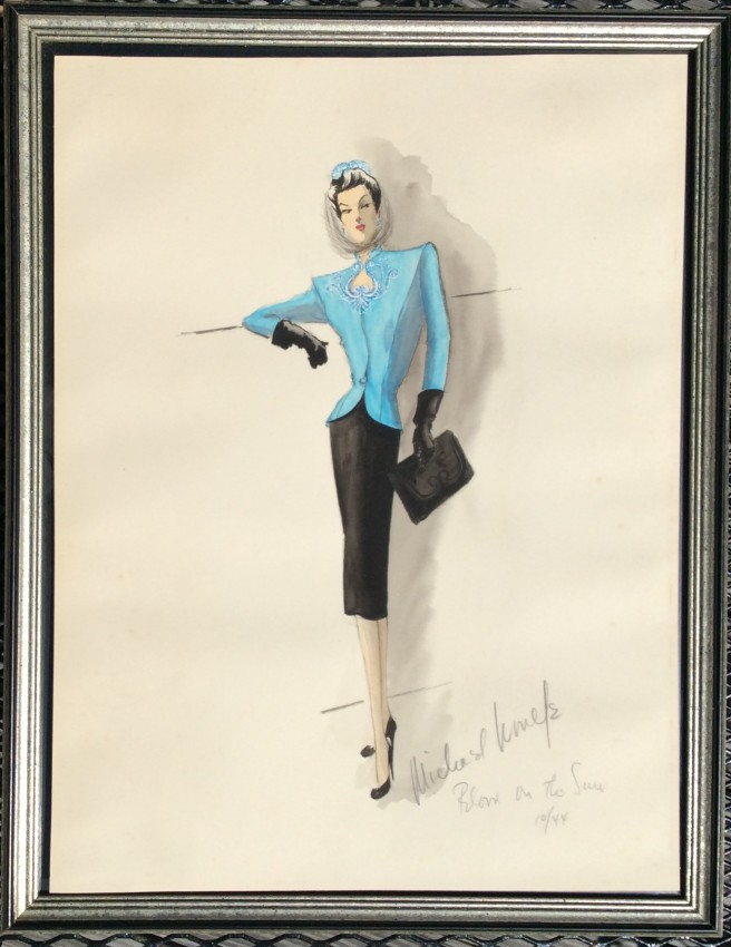 """An original design for a Sylvia Sidney costume from the movie """"Blood on the Sun"""""""