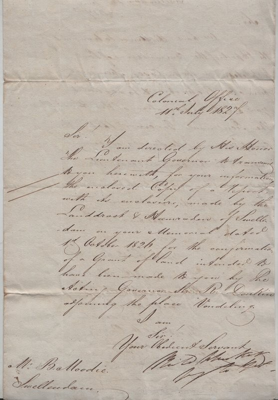 ALS to Benjamin Moodie dd. 11th July 1827.