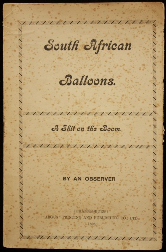 South African Balloons - A Skit on the Boom (Very early Johannesburg printing, 1895)