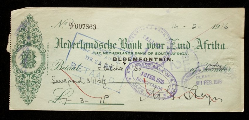Original Cheque Signed by the Sixth and Last President of the Orange Free State Republic Martinus Theunis Steyn