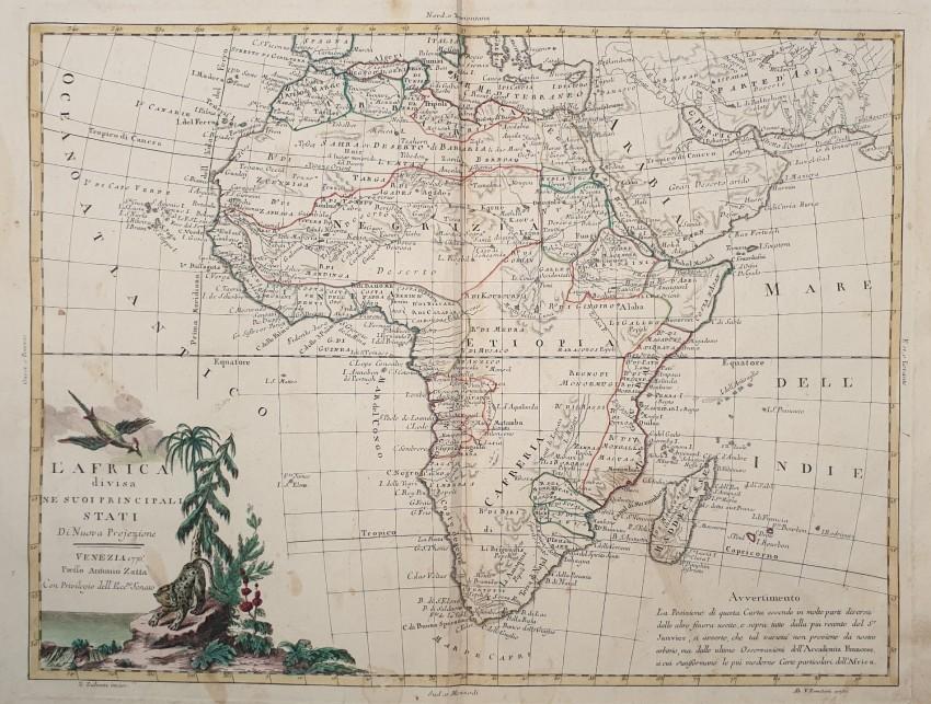 L'Africa divisa ne' suoi principali stati di Nuova Projezione