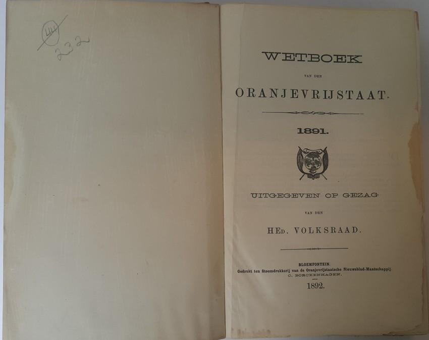 Wetboek van den Oranjevrijstaat 1891.
