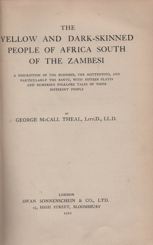 THE YELLOW AND DARK-SKINNED PEOPLE OF AFRICA SOUTH OF THE ZAMBESI