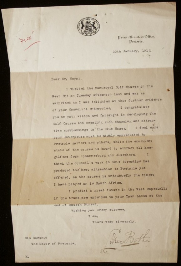 SIGNED General Louis Botha letter to the Mayor of Pretoria congratulating him on the standard of the Pretoria Golf Club (1916)