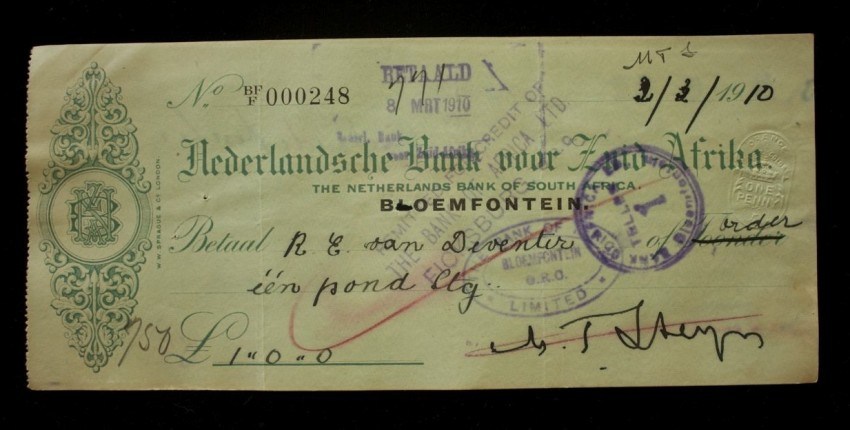Original Cheque Twice Signed by the Sixth and Last President of the Orange Free State Republic Martinus Theunis Steyn