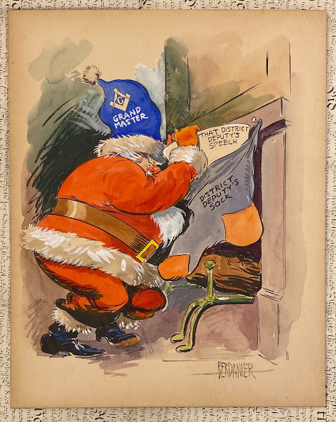 A character dressed as Father Christmas (but wearing a blue Freemason's Grand Master hat), leaves the District Deputy a present