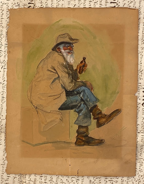Original character study of a bearded African American man seated on a box, laughing.