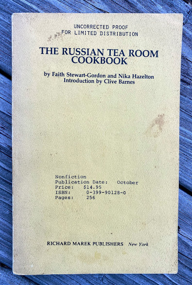 The Russian Tea Room Cookbook … Introduction by Clive Barnes