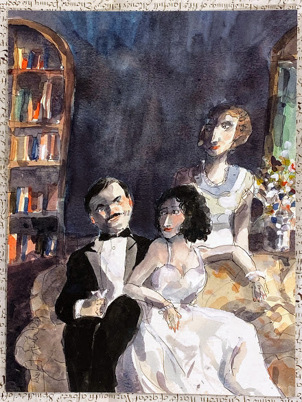 ['The Good Wife'?]  original pencil and watercolor artwork probably intended for a New Yorker Magazine illustration
