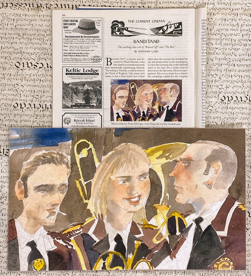 """Brassed Off"" - Original pencil and watercolor drawing of three characters"