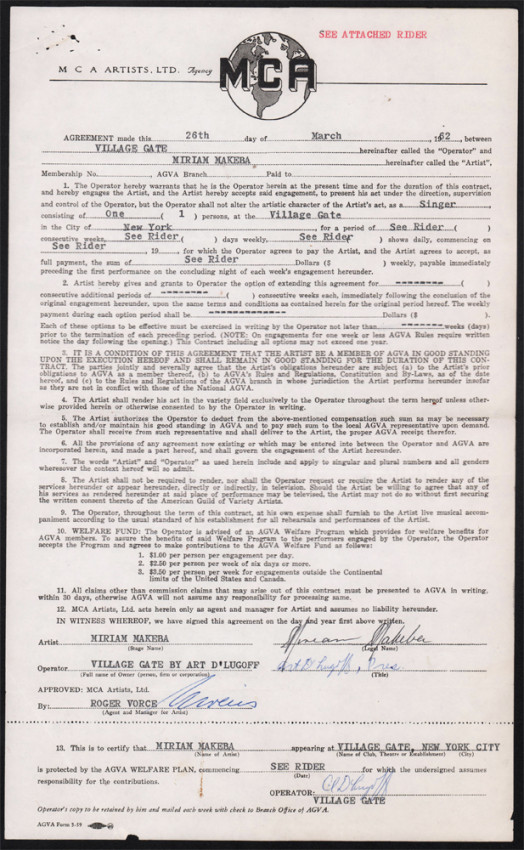 CONTRACT WITH MCA ARTISTS (signed by Miriam Makeba)
