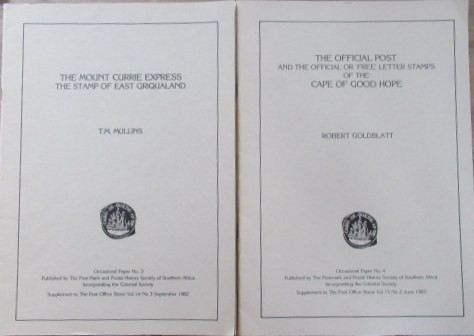 Lot of Eight - Occasional Papers - The Post Mark & Postal History Society of Southern Africa