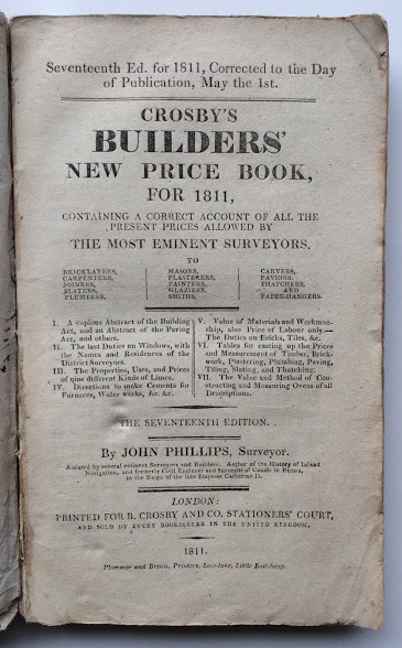 Crosby's Builders' New Price Book, for 1811, containing a correct account of all the present prices