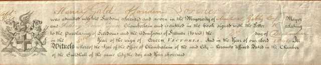 FREEDOM OF LONDON 1844 - RECIPIENT'S ORIGINAL COPY.