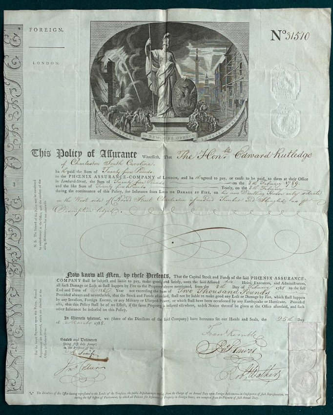 """Certificate of Insurance for Hon. Edward Rutledge's """"Dwelling House only situate on the West side of Broad Street Charleston"""""""
