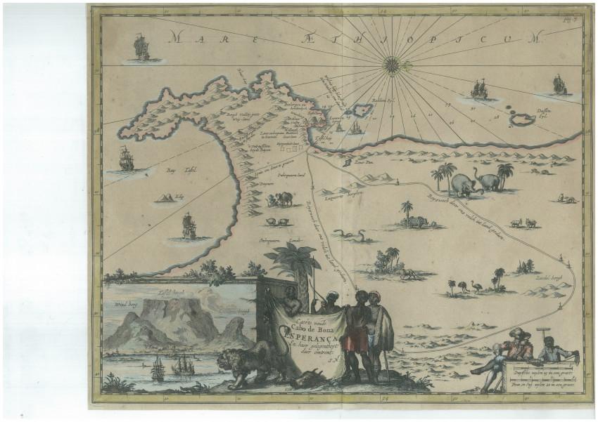 Caerte van de Cabo de Bona Esperanca en haar gelegenheyt daer omtrent [Map of the Cape of Good Hope and its true situation]