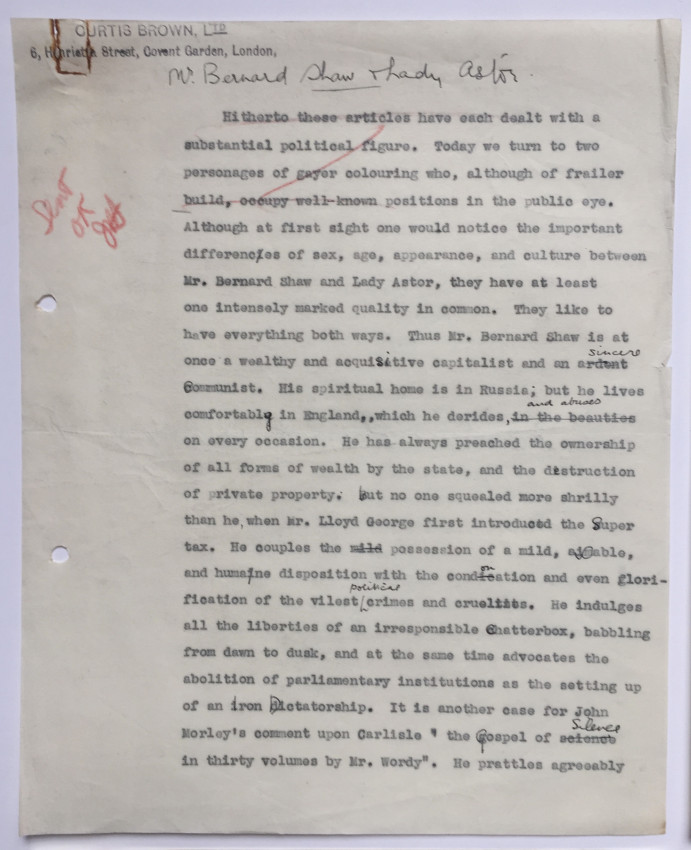 Original typescript of article commenting on George Bernard Shaw & Lady Astor's visit to Moscow, & their meeting with Stalin