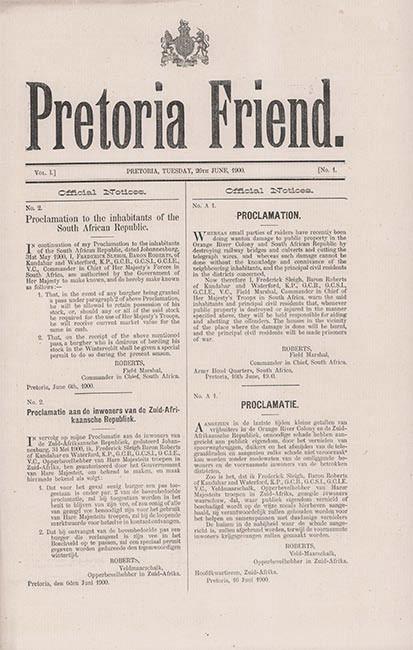 PRETORIA FRIEND - COMPLETE RUN OF 17 ISSUES IN NEAR FINE CONDITION