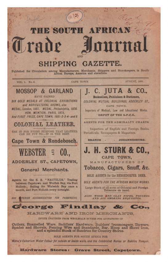 THE SOUTH AFRICAN TRADE JOURNAL AND SHIPPING GAZETTE