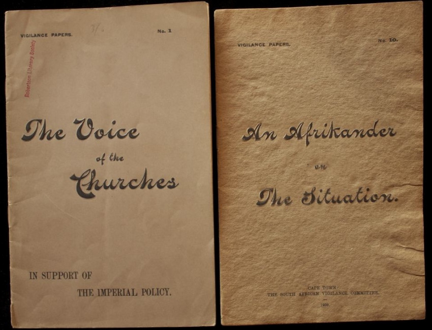 VIGILANCE PAPERS nos. 1.) The Voice of the Churches & 10.) An Afrikander on the Situation. (1900)