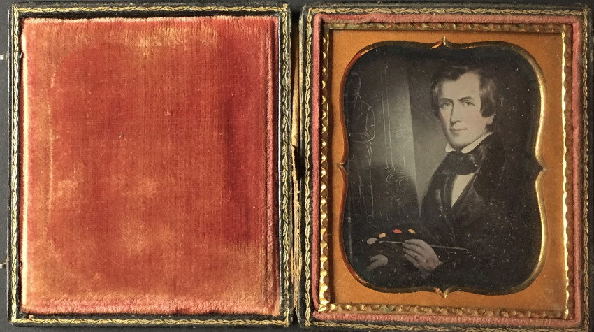 Daguerreotype copy of a portrait of George Cooke at work on a portrait of Henry Clay