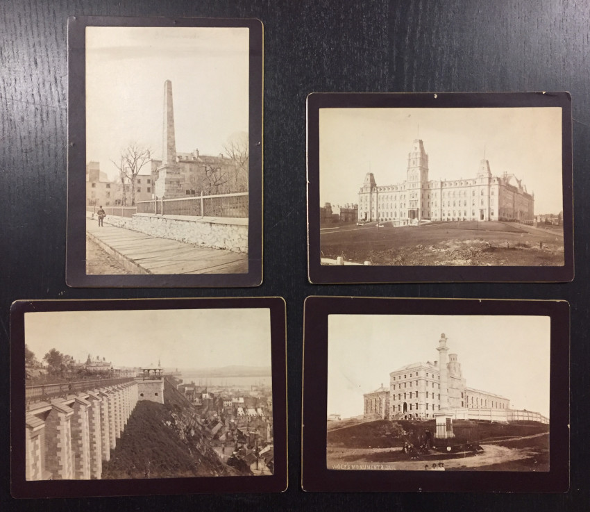 (Canada) 4 Cabinet Cards of Quebec City including Wolf's Monument and Jail,