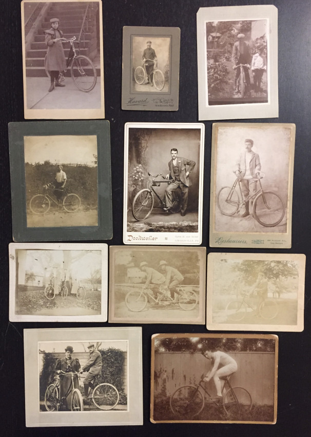 (Bicycles) Group of 12 early mounted images of men and women with bicycles