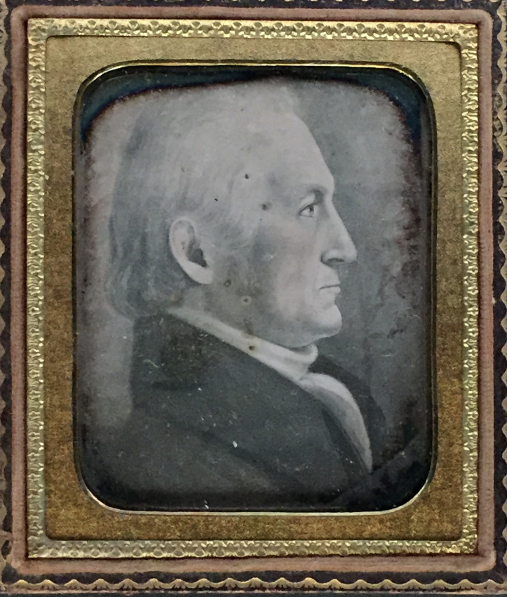 Tinted daguerreotype of a painting of a man's profile