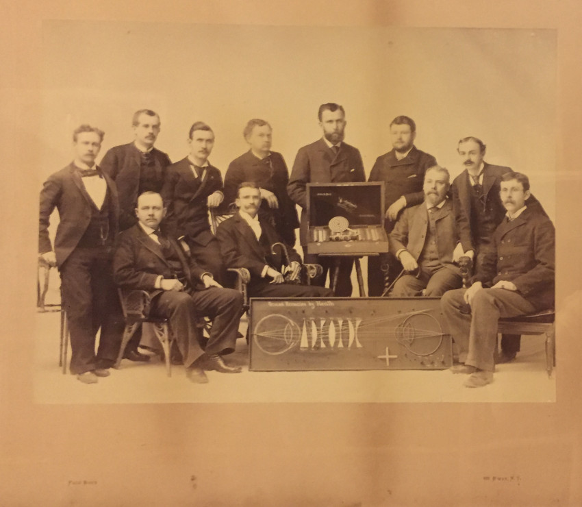 (Science; Technology) Large Photograph of Men with Optical Equipment