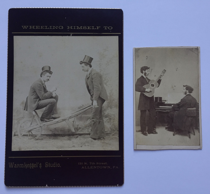 """Two images: """"Wheeling himself to Warmkessel's Studio"""" & [A double portrait of the same man playing two different instruments]"""