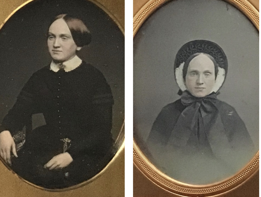 Two fine daguerreotype portraits of the same woman