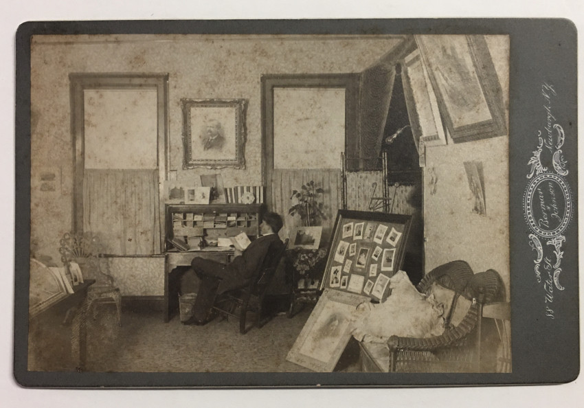 (Newburgh, NY) CHARLES BORMAN'S STUDIO Cabinet Card of a Photographer In his workspace