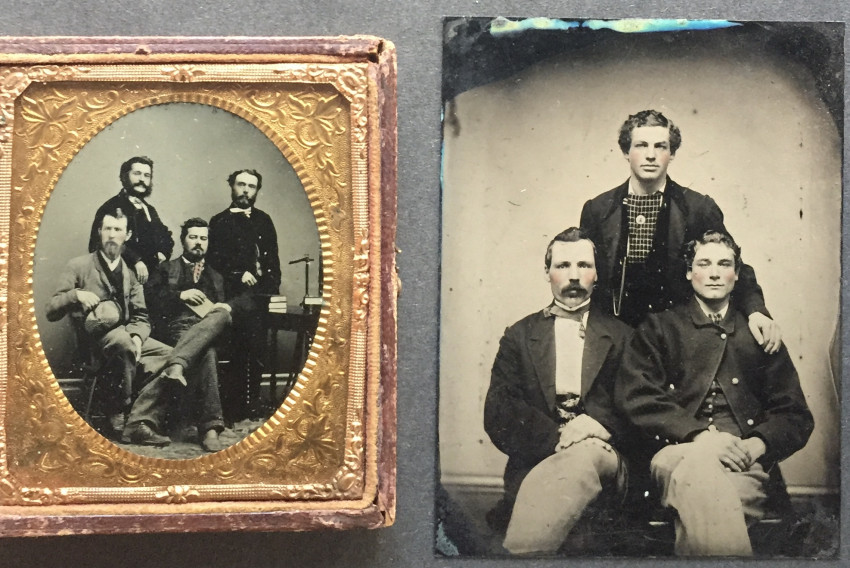 Faculty or scholars posing for the tintype, together with 2 other tintypes