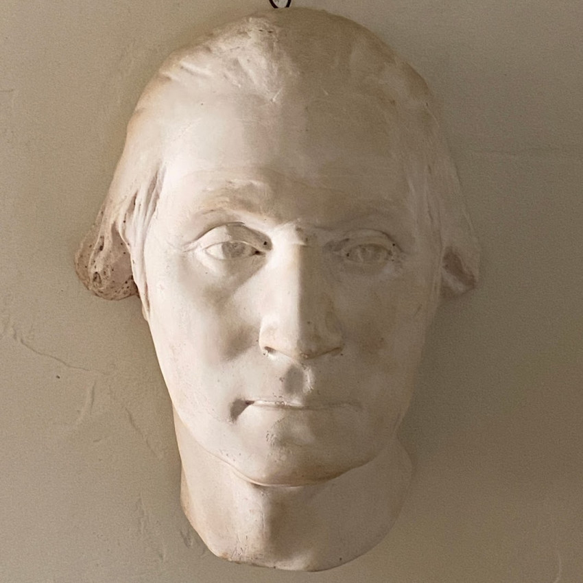Life-size cast of the head of George Washingon, aged 53, after or inspired by Houdin's terra cotta bust of 1785.