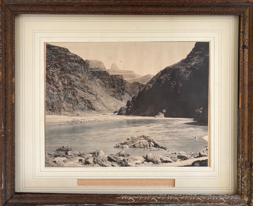 "Original hand-tinted photo, titled on the mount ""Zoroaster from the River. Foot of Bright Angel Trail""."