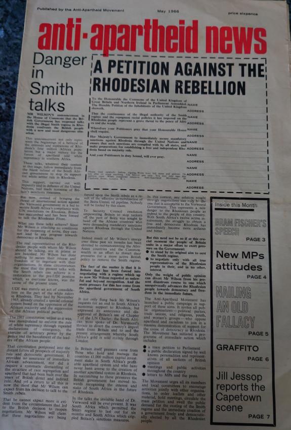 Anti-Apartheid News May & September 1966