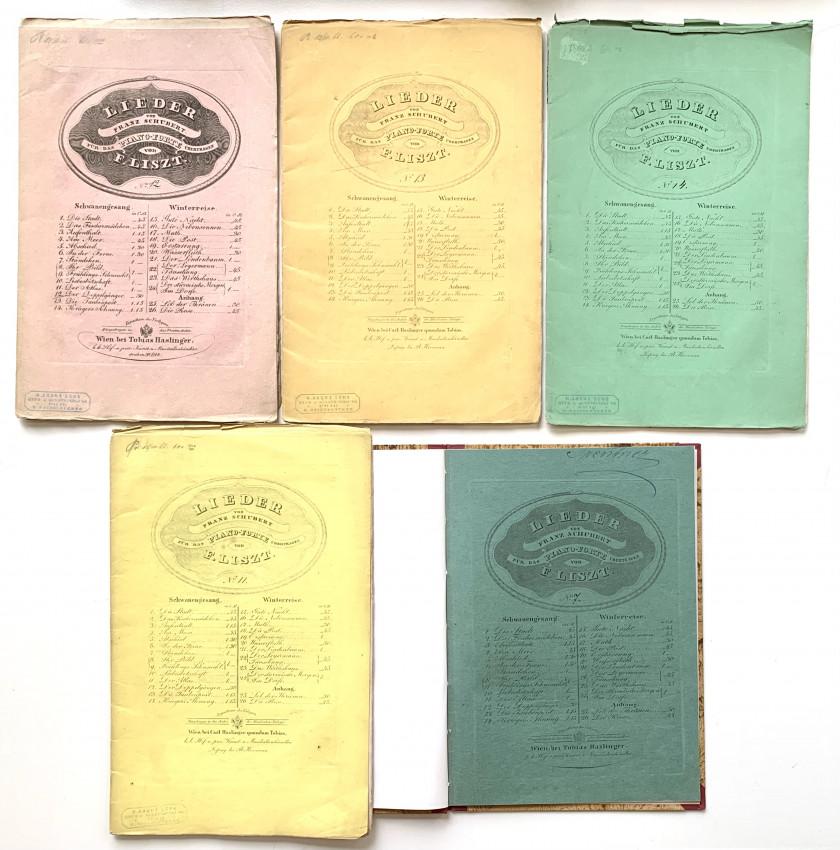 "[Piano transcriptions of Schubert Songs] ""Der Doppelgänger""; ""Die Taubenpost"", ""Kriegers Ahnung"", ""Der Atlas"", ""Ständchen""."