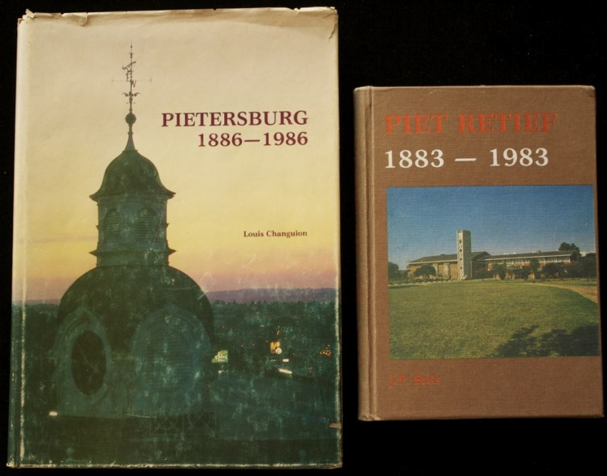 Two Centenary Publications of the Towns of Pietersburg (1886-1986) & Piet Retief (1883-1983)  SIGNED & INSCRIBED by their MAYORS