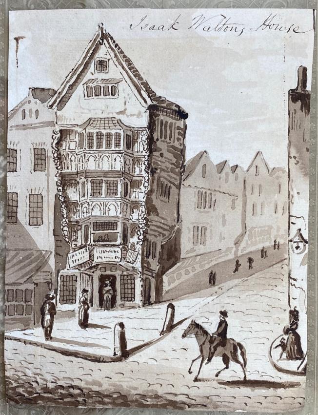"An original drawing of ""Isaak [sic.] Waltons House"", 120 Chancery Lane, London."